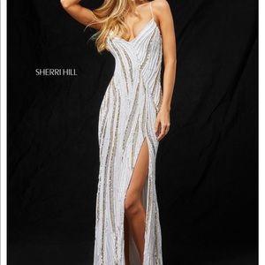 Sherri Hill White Sequin Prom Dress